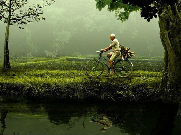 Man som cyklar genom park