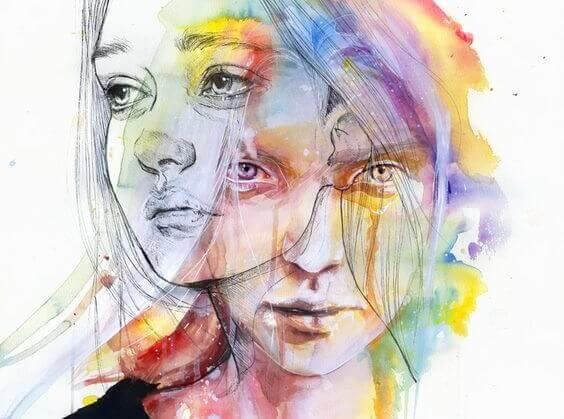 Ritning av två ansikten