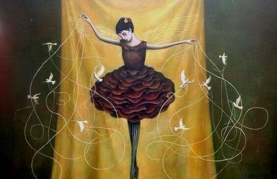 Ballerina med fåglar