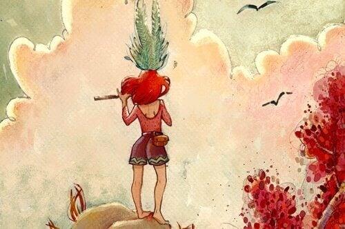 Flicka med flöjt