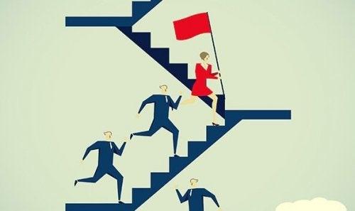 Kvinna leder vägen
