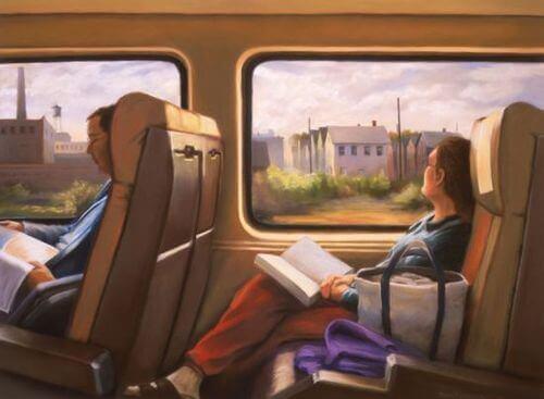 Läser på tåget