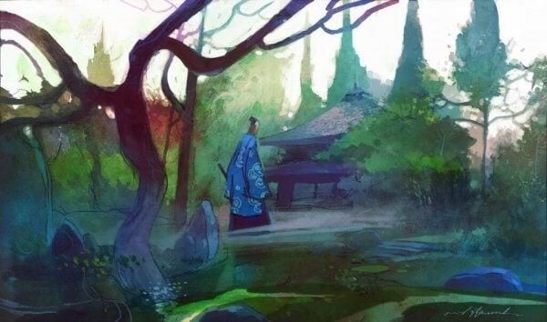 Man i skog