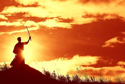Samuraj i solnedgang