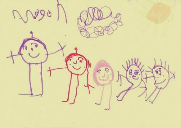 Teckning av familj