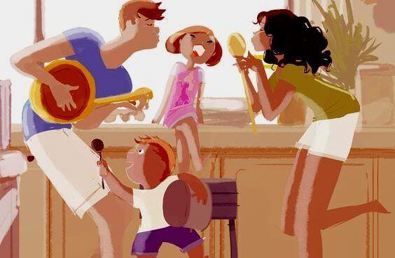 Familj i köket.
