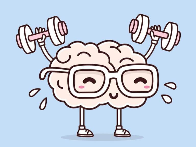 Hjärna med glasögon som tränar.
