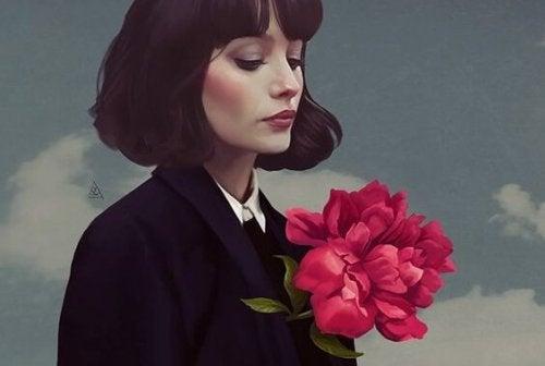kvinna med blommor