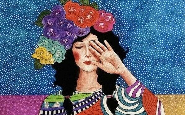 Kvinna som täcker över ena ögat