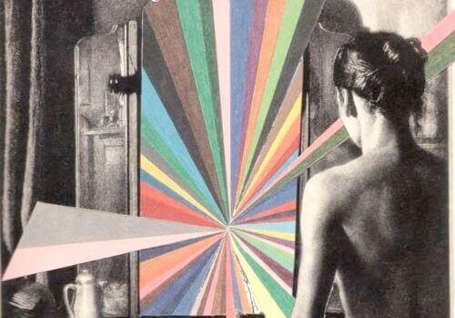 Kvinna bland färger