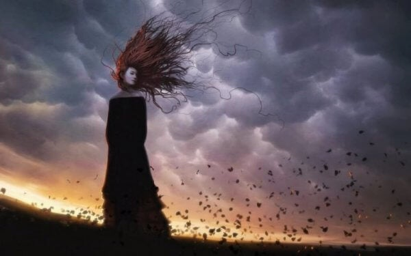 Kvinna i storm
