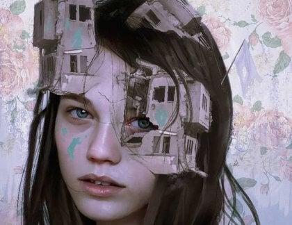 Kvinna med byggnad i ansiktet