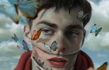 Man med fjäril
