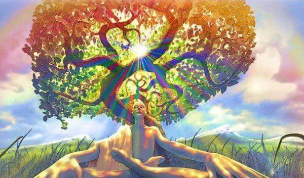 Person under träd
