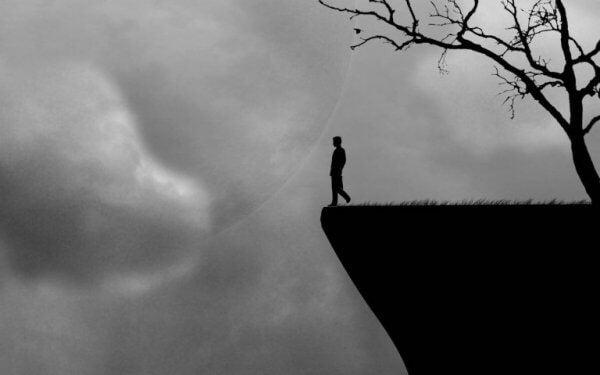 Person vid klippa