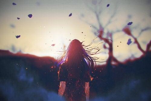 Kvinna i vind