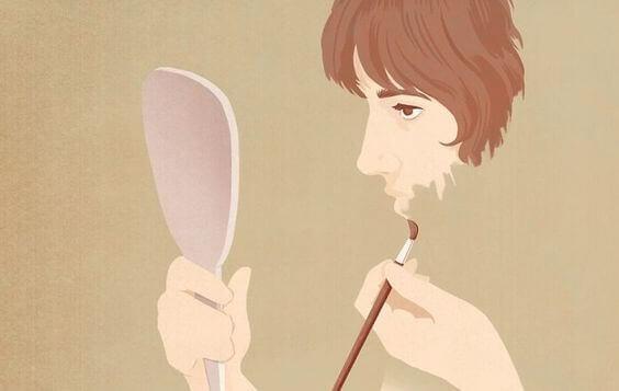 Kvinna målar ansiktet