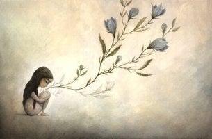 Kvinna med blommor.