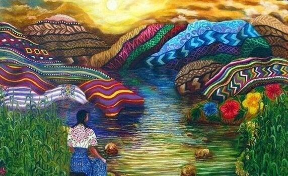 Kvinna som tittar på berg med färger.
