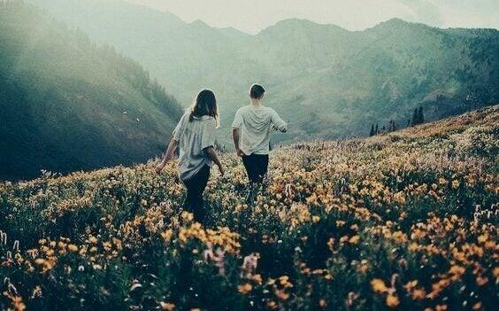 Par som går igenom fält med blommor.