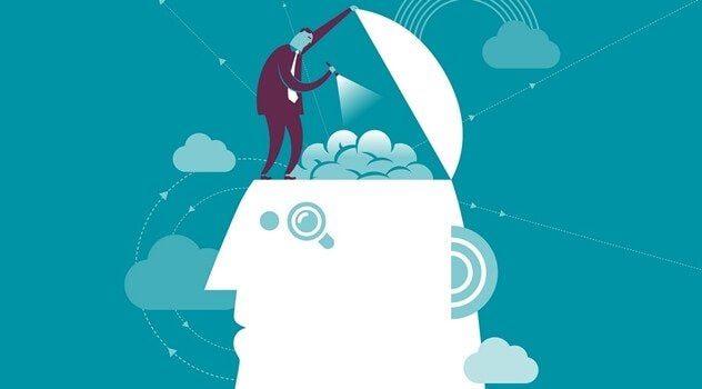 Person som utforskar hjärna.
