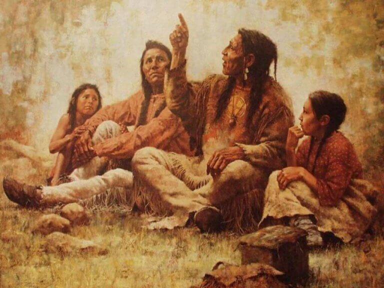 Cherokeegrupp som samtalar.