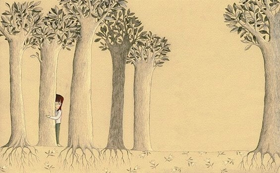 Ensam person i skog