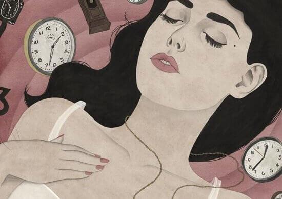 Kvinna bland klockor