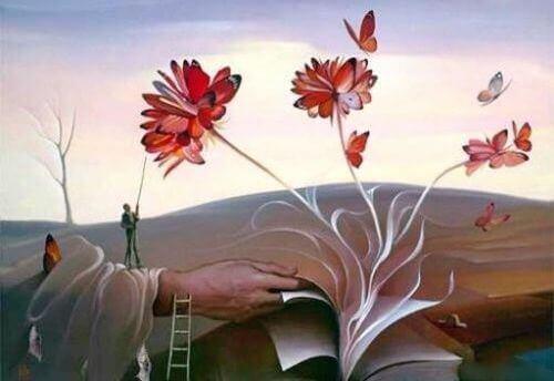 Bok med blommor