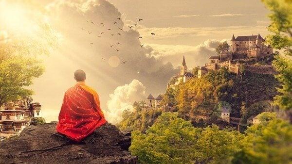 Buddhistisk munk mediterar
