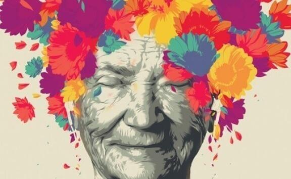 Kvinna med blommor på huvudet.