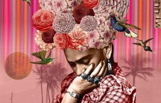Kvinna med blommor som hår.