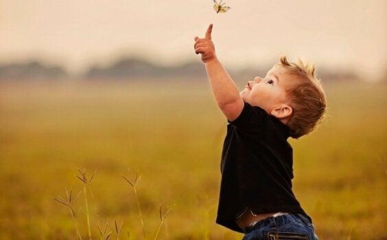 Pojke som sträcker sig efter fjäril.