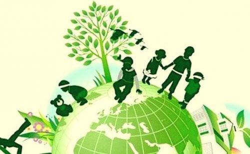 Barn på grön planet