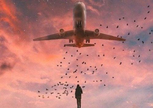 Flygplan över person