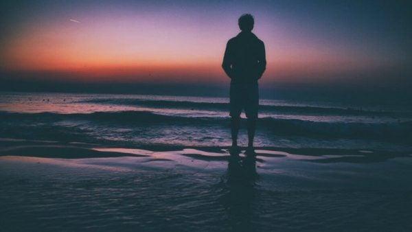 Person på strand