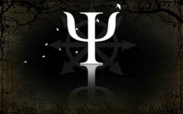 Psykologisymbolen på svart bakgrund