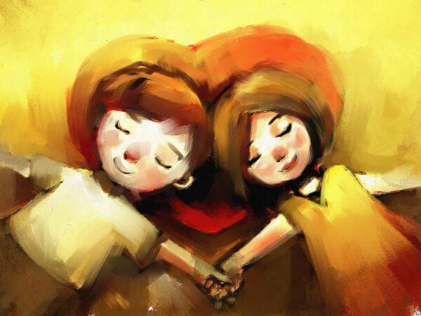 Målning av par som håller hand.