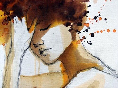 Tecknad kvinna i färg