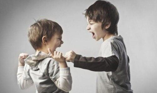 Pojkar som bråkar.