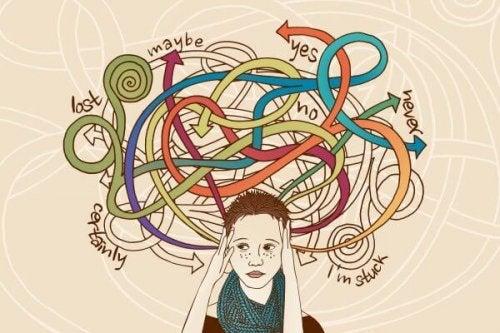 Stressad kvinna med många tankar