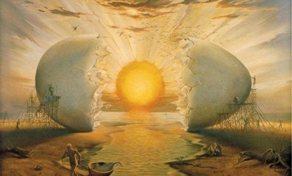 Surrealistisk bild av soluppgång som kläcks ur ett ägg