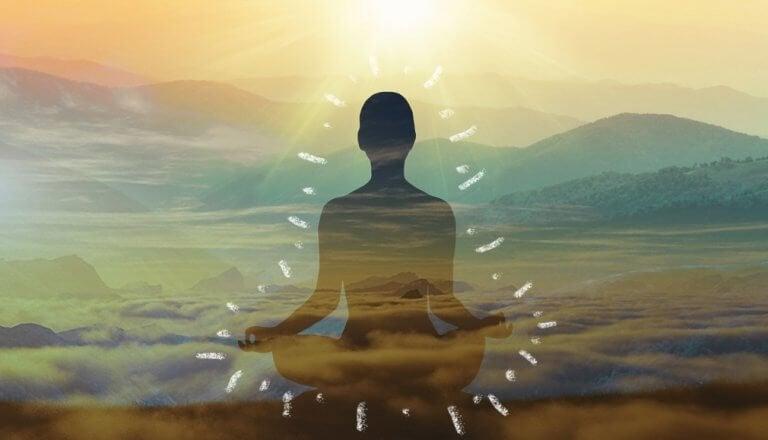 Figur som mediterar.