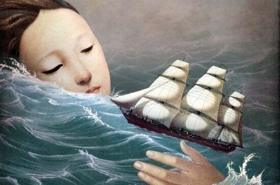 Kvinna i stormigt hav och litet fartyg