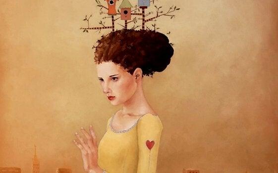 Kvinna med allvarligt ansikte och hjärta på ärmen