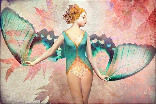 Kvinna med vingar.