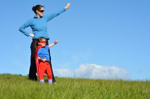 Supermammor som beskyddar sina barn