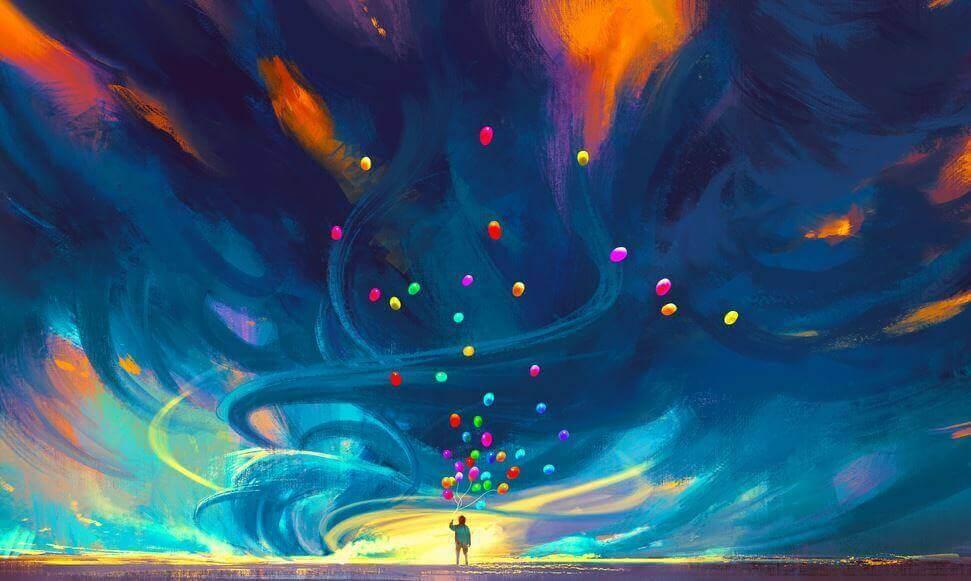 person med färgglada ballonger