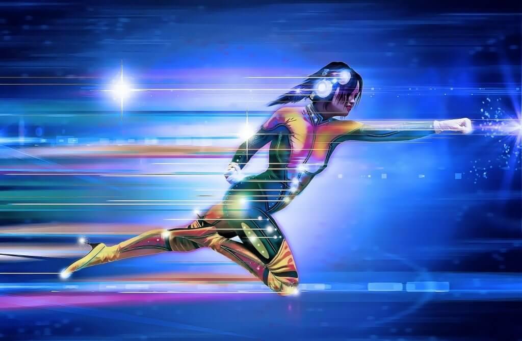 Superhjälte som flyger.
