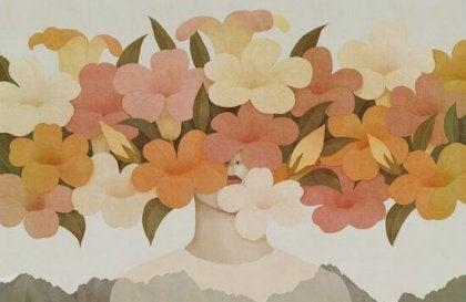 Blommorkrans täcker ansikte